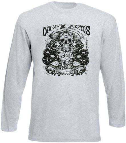Biker-Style Langarm-Shirt Herren Longsleeve lässiger Totenkopf Aufdruck: Dia De Los Muertos Skull and Snake Grau