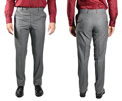 Klassische Herrenhose Flat-Front Grau