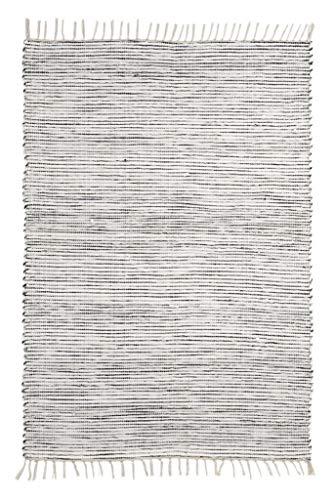 Onloom Alfombra Milo Tejida a Mano, 100% algodón, Lavable a 30°C, Farbe:Rayado Negro Blanco, Größe:60...