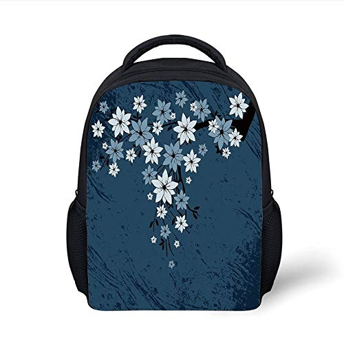 Kids School Backpack Floral,Spring Blooms on Grunge Backdrop Classic Petal Flourishing Season Essence Theme,Night Blue Dust Plain Bookbag Travel Daypack -
