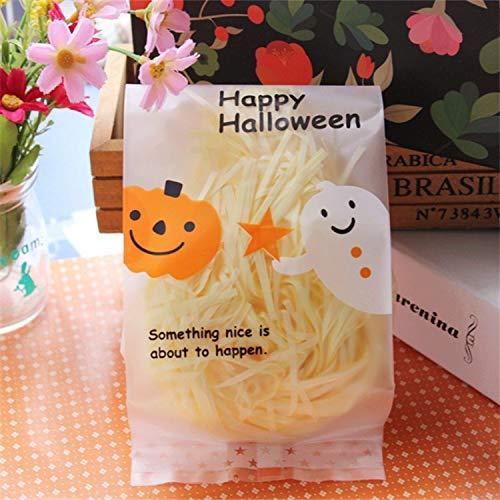 MAOYYM2 50 (25 * 18cm) Halloween New Scrub Translucent Zurück Seal Bag Kürbis Ghost Flache Tasche Lebensmittel Tasche