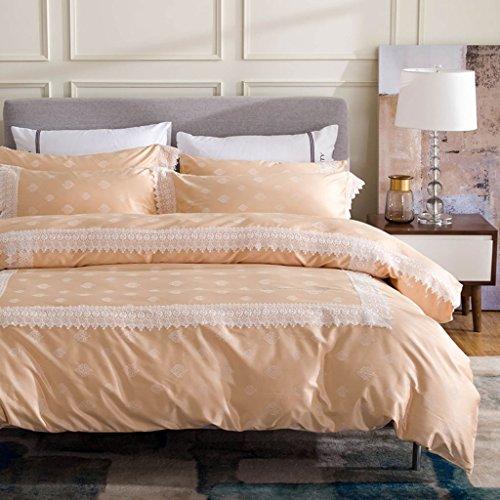 LongYu Bettwäsche Quilt Bettwäsche Vier-teiliges Set luxuriös romantisch Silky Bequeme Satin Lace Heimtextilien (Color : E, Size : 220*240CM)