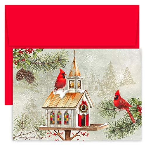 Masterpiece Hollyville Weihnachtskarten in Andenkenbox, 18 Stück Kardinal-Vogelhäuschen 7.875 x 5.625
