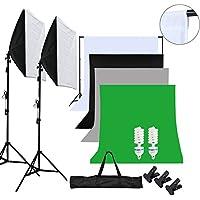OUBO Profi Fotostudio Set 4X Hintergrundstoff (Weiß: Baumwolle; Schwarz, Grau, Grün) Fotoleinwand Hintergrund Studioleuchte Softbox Komplett 19 in 1 Kit