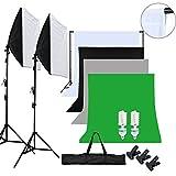 OUBO Profi Fotostudio Set 4X Hintergrundstoff (Wei�: Baumwolle; Schwarz, Grau, Gr�n) Fotoleinwand Hintergrund Studioleuchte Softbox Komplett 19 in 1 Kit Bild