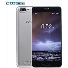 Móviles y Smartphones Libres, DOOGEE X20 Dual SIM Movil Baratos, 3G Android 7.0 Telefonos, 5 Pulgadas HD IPS Display y MT6580 Quad Core Smartphone, 1GB RAM + 16GB ROM, 2.0MP + Cámaras Traseras Duales 5.0MP,Plata