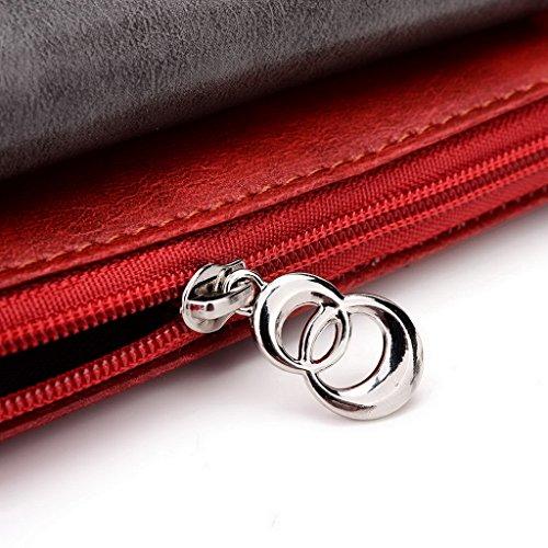 Kroo Pochette Portefeuille en Cuir de Femme avec Bracelet Étui pour COACH PRUNE Pro/Plus II noir - Black and Blue rouge - Red and Grey