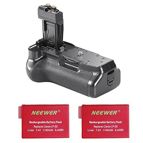 Neewer BG-E8 Ersatz-Batteriegriff für Canon EOS 550D 600D 650D 700D / Rebel T2i T3i T4i T5i Spiegelreflexkameras mit 2er Pack Canon LP-E8 Ersatz-Lithium-Ionen-Akku (rot), 7,4V 1140mAh