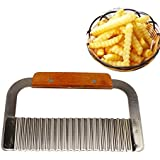 JJOnlineStore - FLASH SALES - Stainless Steel Wooden Handle Potato Chip Dough Carrot Vegetable Crinkle Wavy Cutter Kitchen Cooking Hand Tool