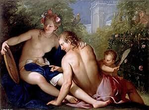 Peinture à l'huile encadrée - 16 x 12 inches / 41 x 30 CM - Antonio Bellucci - Renaud et Armide (...