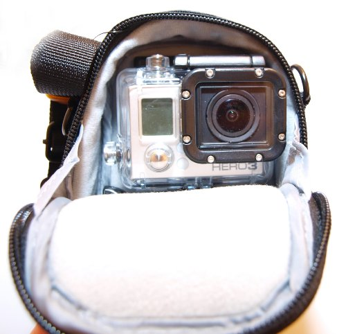 Kameratasche Tasche Kamera Koffer für GOPRO Hero 80x100x40 mm + 4x Anti-Fog Antibeschlag Einsätze (Original Go Pro-speicherkarte)