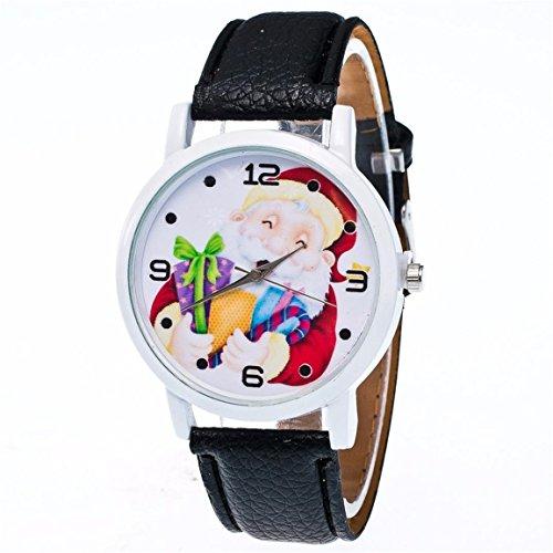 Santa Claus Uhren,Moonuy Mode Weihnachten ältere Muster Uhren Neue Stil Leder Band Analog Quarz Vogue Präzise Bewegung Uhren (Schwarz)