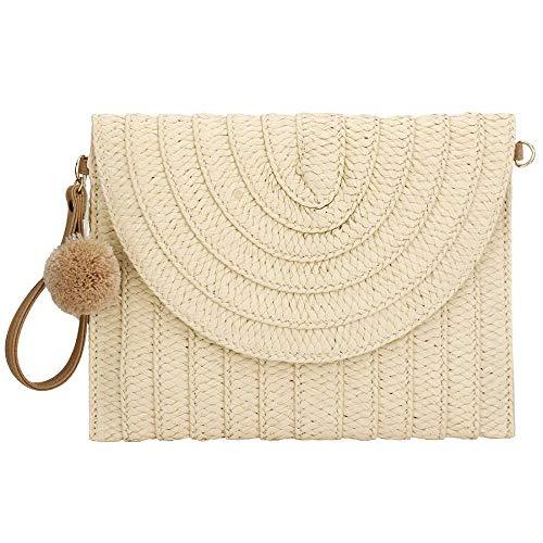 Beige Handtaschen Stroh (Handgefertigte Umhängetasche aus Stroh für Damen, mit Schulterriemen und Handtasche Gr. One size, beige)