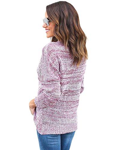 YOUJIA Pull Tops pour Femmes Mode Col V Croisé Tricot Pull-over Chandail Casual Asymétrique Sweater Jumper Rouge