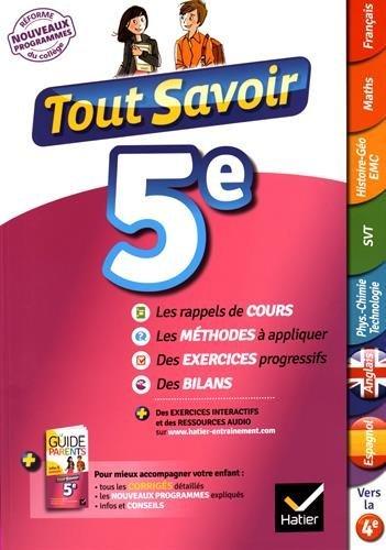 Tout Savoir 5e - Nouveau Programme 2016 - Pour Réviser Dans Toutes Les Matières By Marjorie Champetier 2016-06-15