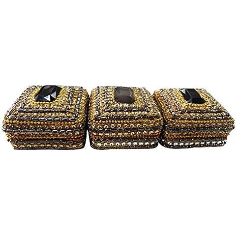 contenitore di monili arredamento casa indiana set di 3 pezzi di alluminio materiale decorativo lac stoccaggio d'oro elemento regalo scatola della pillola caso perline
