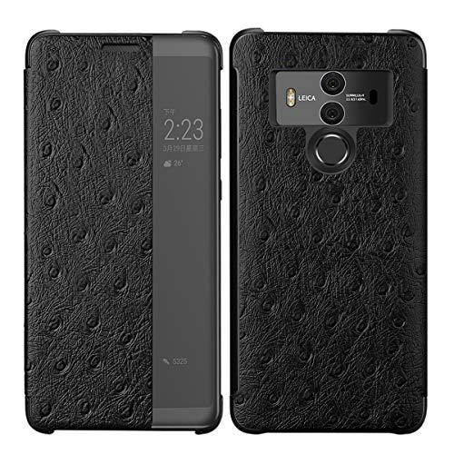 3C-LIFE Luxury Classic Genuine Leather Case Compatible with Huawei P20 Pro, Premium Handmade Cow Cowhide Leather Ostrich Skin Pattern [Wireless Charging] Smart Wakeup/Sleep Case Folio Cover (Black) - Genuine Ostrich Skin Leder