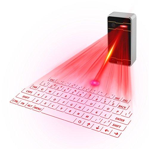 Hangang Laser Tastatur virtuellen Laser Projektion des Portable Mini Wireless Bluetooth QWERTY Tastatur Und Maus für Handy Desktop Tablet PC Android Phone Black and White -