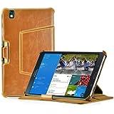 LEICKE MANNA | Funda para Samsung Galaxy TabPRO 8.4 con correa elástica de mano | Función soporte, Cleverstrap y suspensión automática | SM-T325 LTE SM-T320 Wifi SM-T900 SM-T905 | Color marrón