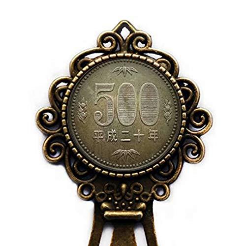 Xubu Vintage Münz-Lesezeichen, 500 Yen Münzen, Geschenk für Münzsammler