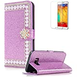 For Samsung Galaxy S8 Cover [with Free Screen Protector],Funyye Premium Luxury Elegance Diamond Pearl Embedded Vintage charming Wallet lovely sparkly Case [Credit Card Holder Slots] Stand Function Book Type Durable PU Leather Shell for Samsung Galaxy S8 - Purple