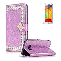 For Samsung Galaxy S6 Edge Cover [with Free Screen Protector],Funyye Premium Luxury Elegance Diamond Pearl Embedded Vintage charming Wallet lovely sparkly Case [Credit Card Holder Slots] Stand Function Book Type Durable PU Leather Shell for Samsung Galaxy S6 Edge - Purple