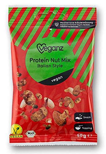 (Veganz BIO Protein Nut Mix Italian Style ✔ Veganer Snack mit 29% Protein-Gehalt und lecker würzigem Tomaten Geschmack ✔ Perfekt als Topping Vegan Chips Nuss Mix Nussmischung 10 x 50g)