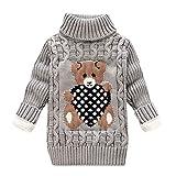 JUTOO Kleinkind Baby Mädchen/Jungen-Bär Printed Pullover Stricken Pullover Tops Winterkleidung Outfits (12 Monat-4 Jahre) (4-5 Jahre, Plus Velours-Gris)