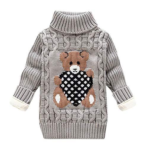 LEXUPE Baby Kinder Mädchen Winter Pullover Strickpullover Hoher Kragen Warmer Langarm Cute Pullover Kinderkleidung Sweatshirt Tops(E-Grau,100)