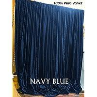 Vintage Cotton Velvet Curtain 228,6cm W by 274,3cm l lunghezza di goccia, velluto drappo, completamente foderato tenda a pannello, spessa e pesante, senza pieghe tenda, 100% velluto di cotone di Indiaz tendenze, Navy Blue, 90