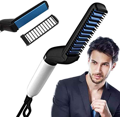 JT ENTERPRISE Multifunctional Beard Hair Straightener Comb for Men Curly Hair Straightening Quick Hair Styling Comb for Natural Side Hair Detangling with Detachable Safe Comb