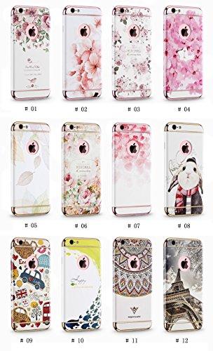 "Apple iphone Schutzhülle Kreativität handlich abziehbar case 3D Reliefmalerei Slim PC Hard Back Case Cover (iPhone 6 Plus/6s Plus 5,5"", Blatt) Pfingstrosen"
