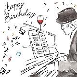 twizler Happy Birthday Karte für Ihn mit Silber folieren, Einzigartige Wasserfarben Effekt–Musik und Klavier–Stecker Geburtstagskarte