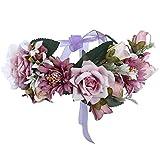 AWAYTR Blumen Stirnband Hochzeit Haarkranz Blume Krone (Lila + Helles Lila)