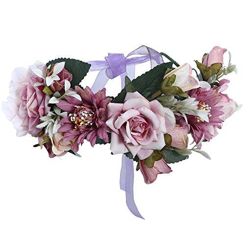AWAYTR Blumen Stirnband Hochzeit Haarkranz Krone - Frauen Mädchen Blumenkranz Haare für Hochzeit Party(Lila + Helles Lila) - Große Blume Stirnband