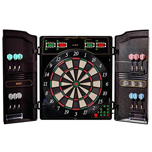 Best Sporting elektronische Dartscheibe Oxford 1.0, LED Dartautomat Kabinett mit 12 Dartpfeilen, Ersatz-Spitzen und Netzteil, schwarz, 1-16 Spieler