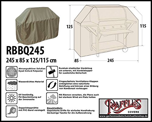 RBBQ245 BBQ Grill Abdeckhaube Gasgrill Schutzhülle Outdoor-Küchen Haube Grillabdeckung Wetterschutzhülle für Grill, Abdeckplane BBQ