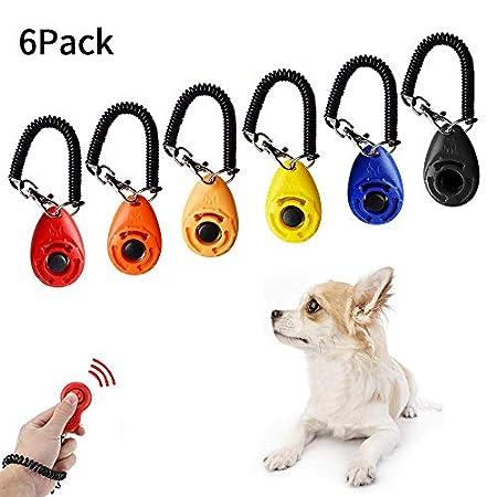 SANBLOGAN Hunde Clicker,6 Stück Clicker mit Handschlaufe Klicker Hund, mit Großem Knopf,Profi Clicker Training Klicker…