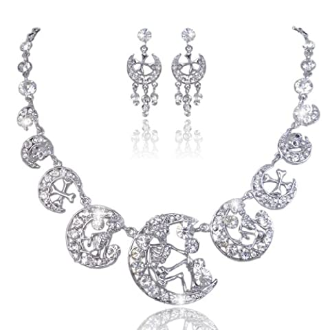 EVER FAITH® Austrian Crystal Halloween Skull Cross Moon Necklace Earrings Set Clear N02551-3