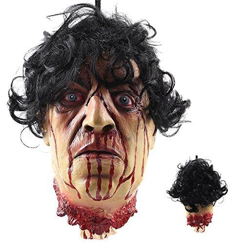 (Littlegrasseu Halloween Deko Körperteile Halloween Dekorationen, Hand Fuß und Kopf, gefälscht aber Echt lebensgroß (Kopf))