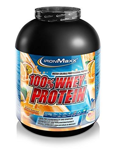IronMaxx 100% Whey Protein Pulver – Proteinreiches Eiweißpulver – Wasserlösliches Proteinpulver mit Orange-Maracuja Geschmack – 1 x 2,35 kg Dose