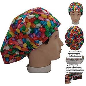Chirurgische Kappe Frau Igel für lange Haare, Chirurgie, Zahnarzt, Tierarzt, Küche usw. Handtuch vorne, perfekte Passform und passt alle Haare
