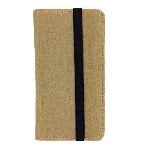 handy-point Universell Organizer für Smartphone Tasche aus Filz Filztasche Filzhülle Hülle Schutzhülle mit Kartenfach für Samsung, iPhone, Huawei (5,6-6,4 Zoll max 18 x 9,3 m, Cappuccino)