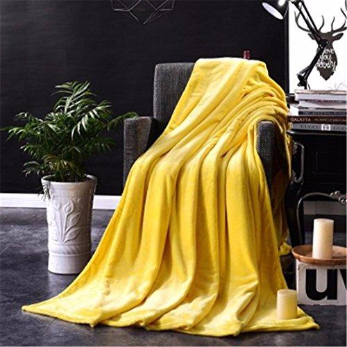 samLIKE 100 * 140 cm warme feste warme micro plüsch fleece decke werfen teppich sofa bettwäsche (Gelb) (Micro-flanell-decke)