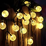 LEAZEAL 20LEDs Solar String Fairy Light with Crystal Ball Covers, Ambiance Lighting, for Outdoor Patio, Pathway, Garden, Indoor Use in Party, Bedroom Decor -Warm White