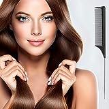 ZF Peigne à Cheveux Brosse de Queue Peigne de taquineries de Fibre de Carbone Noir et Acier Inoxydable et résistant à la Chaleur (3pcs)