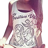 FEITONG Sexy Women Printed Blouse Sleeveless Vest Tee Shirt Blouse Casual Tank Tops (S, A1-White)