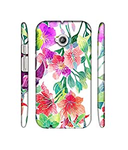NattyCase Flower Pattern 3D Printed Hard Back Case Cover for Motorola Moto E 2nd Generation