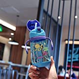 xiaojiangqi Carino Bambini Che Bevono Tazza Bambino Paglia Tazza Studente Di Scuola Primaria Portatile Cartone Animato Maniglia Della Cinghia Bollitore 401-500ml / Maniglia blu