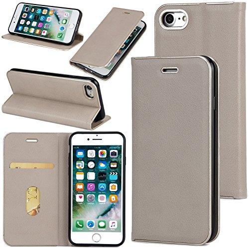EKINHUI Case Cover Schöner eleganter magnetischer Verschluss PU-lederner schützender Abdeckungs-Fall mit Kickstand und Einbauschlitz für iPhone 7 ( Color : Wine ) Gray